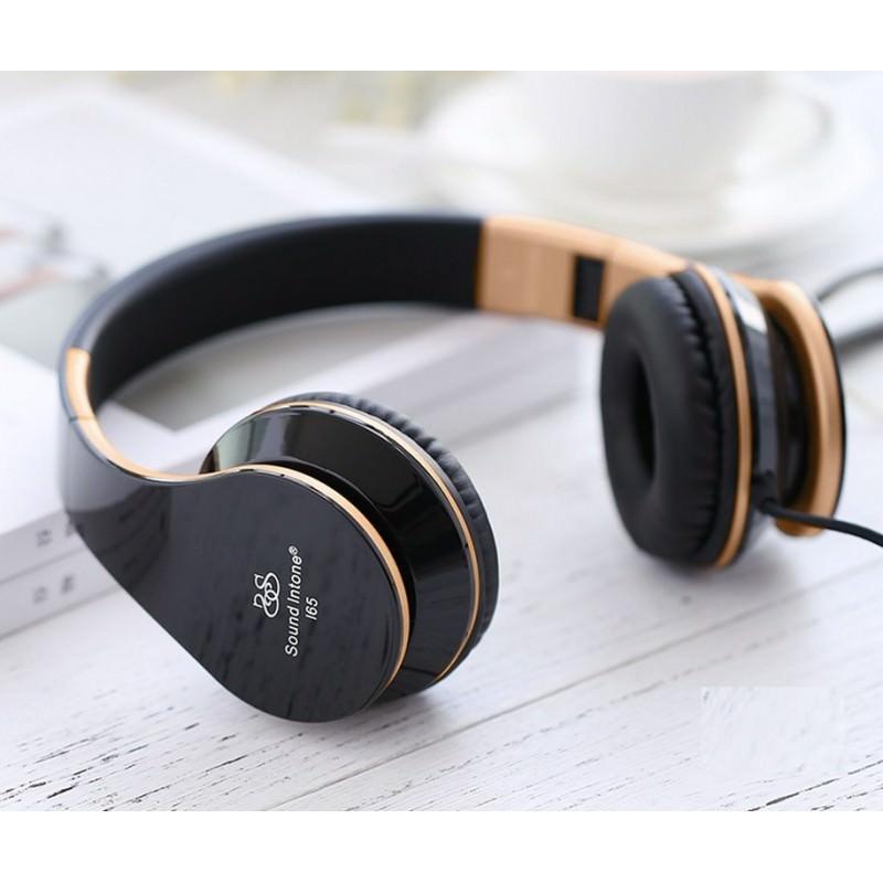 Проводные наушники-гарнитура Sound Intone I65 Hi-Fi - шумоподавление, встроенный микрофон, складная конструкция, HD звук - Черный