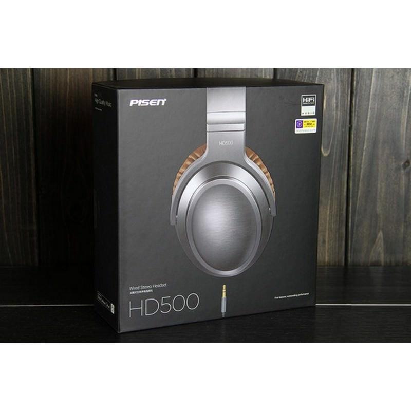 Акустические Hi-Fi наушники Pisen HD500 – позолоченный штекер, металлическая конструкция, кожаные амбушюры 205936