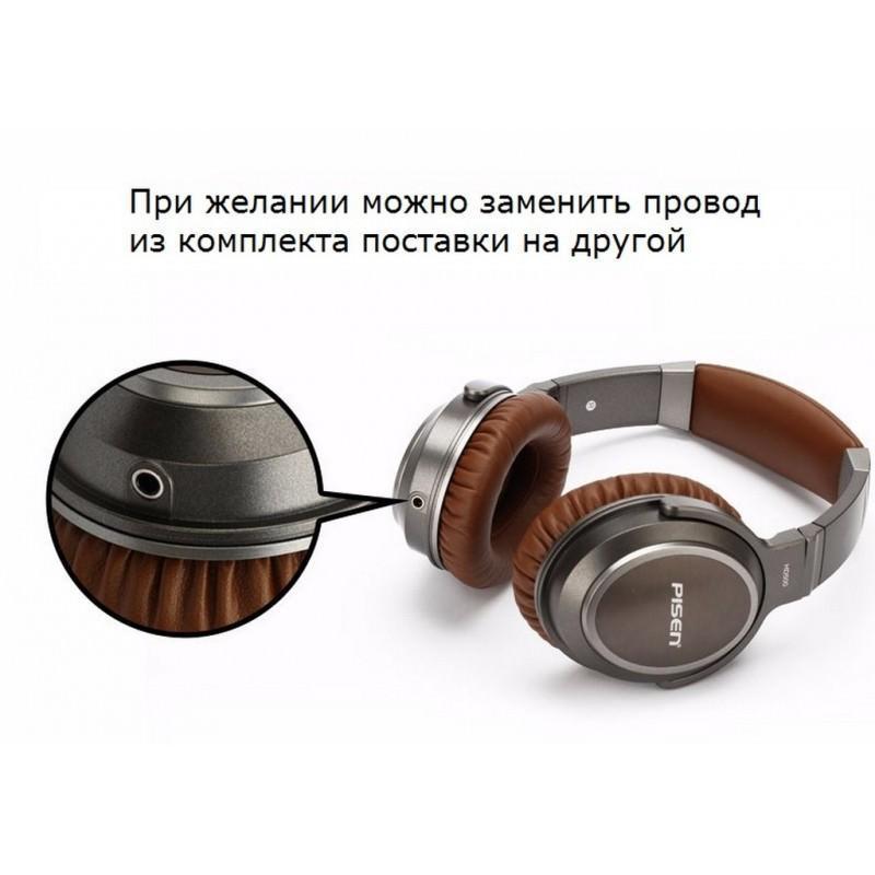Акустические Hi-Fi наушники Pisen HD500 – позолоченный штекер, металлическая конструкция, кожаные амбушюры 205944