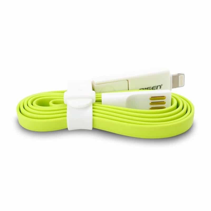 Плоский комбинированный кабель Pisen Combo для зарядки и передачи данных – Micro USB, Lightning 205955