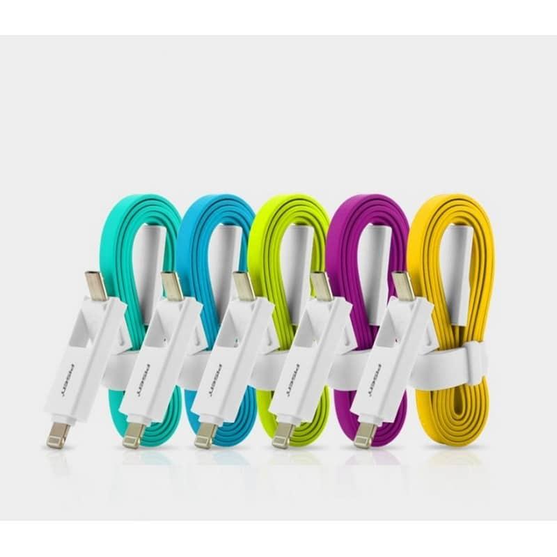 Плоский комбинированный кабель Pisen Combo для зарядки и передачи данных – Micro USB, Lightning