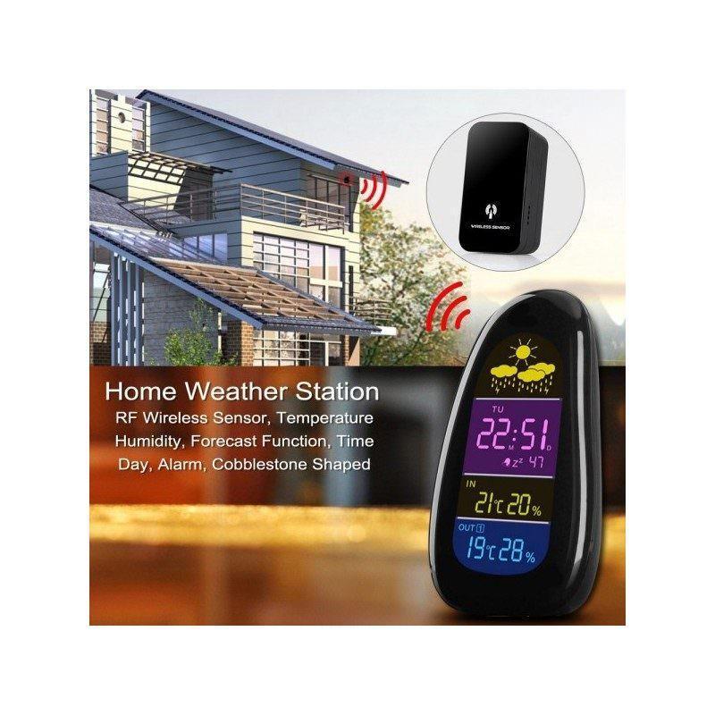 Домашняя метеостанция Cobblestone с беспроводным датчиком, температура, влажность, прогноз погоды, время, дата, будильник
