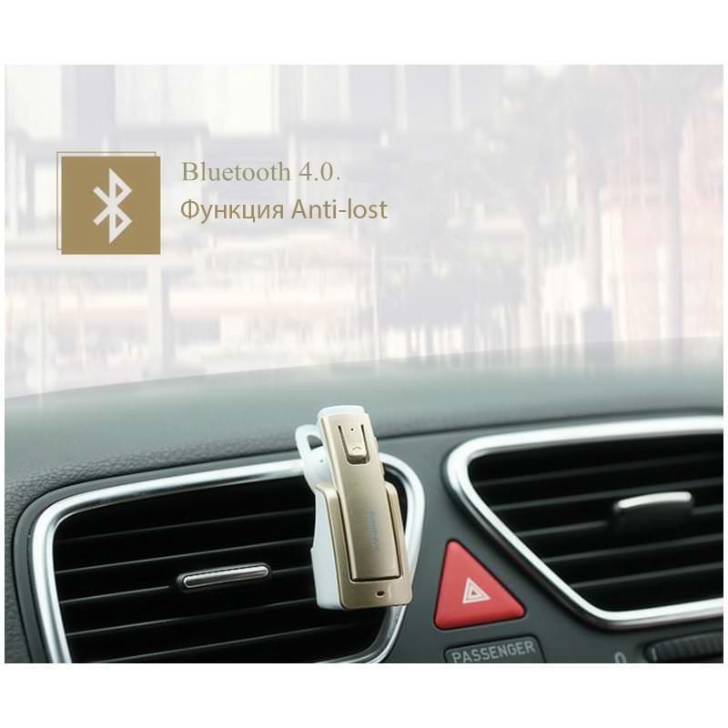 Bluetooth гарнитура Remax RB-T6C с зарядной док-станцией и подставкой: подавление шума, поддержка 2 устройств одновременно 206146