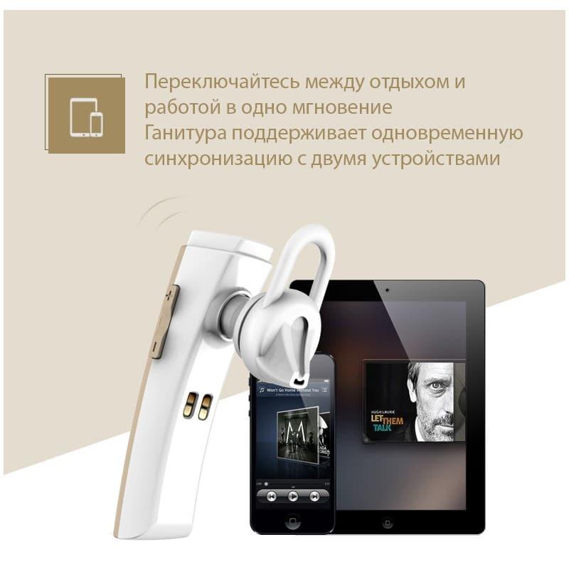 Bluetooth гарнитура Remax RB-T6C с зарядной док-станцией и подставкой: подавление шума, поддержка 2 устройств одновременно 206150