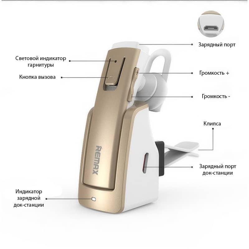 Bluetooth гарнитура Remax RB-T6C с зарядной док-станцией и подставкой: подавление шума, поддержка 2 устройств одновременно 206152