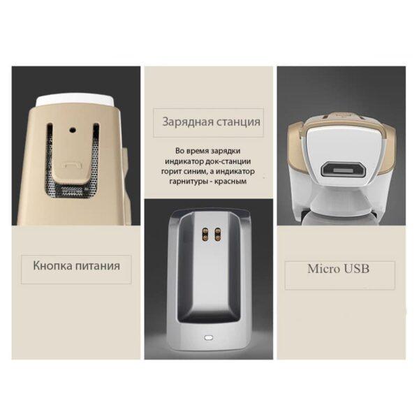 29330 - Bluetooth гарнитура Remax RB-T6C с зарядной док-станцией и подставкой: подавление шума, поддержка 2 устройств одновременно