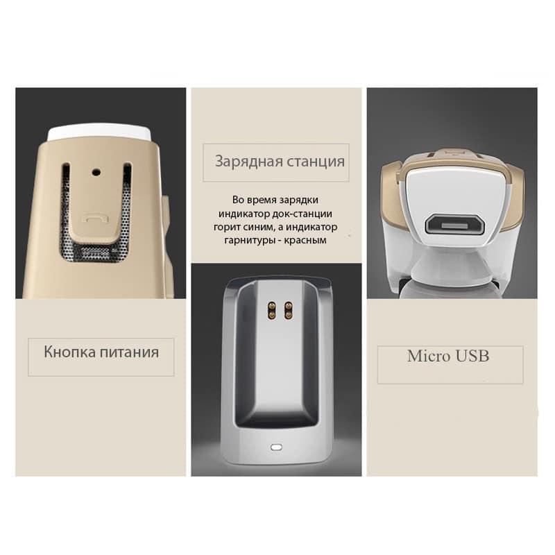 Bluetooth гарнитура Remax RB-T6C с зарядной док-станцией и подставкой: подавление шума, поддержка 2 устройств одновременно 206153