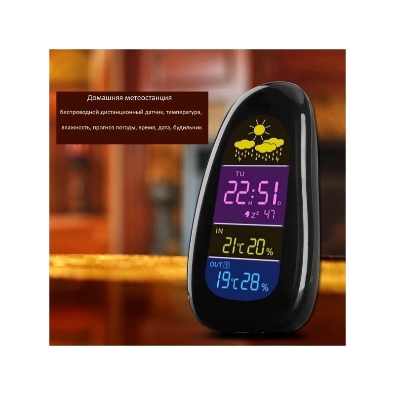 Домашняя метеостанция Cobblestone с беспроводным датчиком, температура, влажность, прогноз погоды, время, дата, будильник 185863