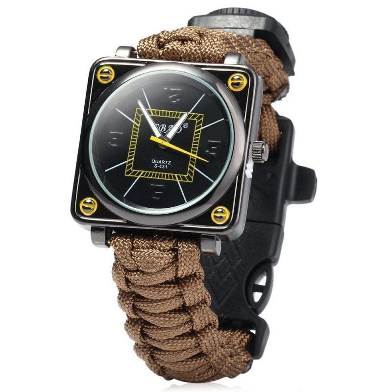 Часы-браслет выживания 6 в 1 Polar Star: огниво, паракорд, компас, свисток, нож 206225