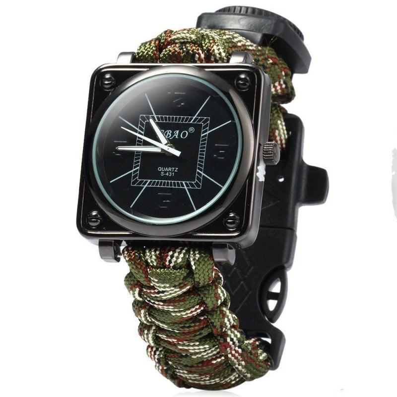 Часы-браслет выживания 6 в 1 Polar Star: огниво, паракорд, компас, свисток, нож 206227