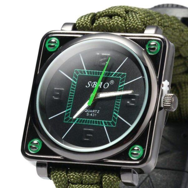 29441 - Часы-браслет выживания 6 в 1 Polar Star: огниво, паракорд, компас, свисток, нож