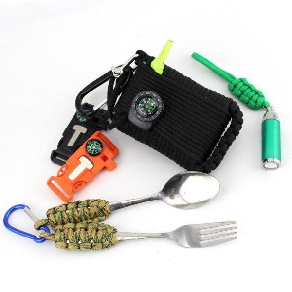 29453 - Портативный комплект выживания из 29 предметов: веревка 10,5 м, огниво, компас, рыболовные снасти, аптечка