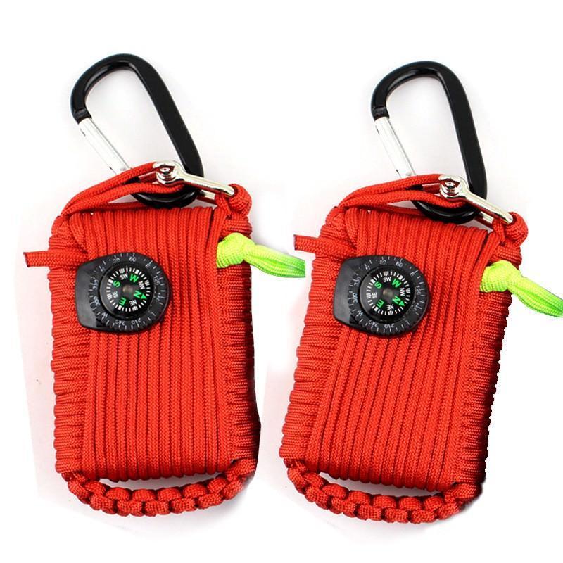 Портативный комплект выживания из 29 предметов: веревка 10,5 м, огниво, компас, рыболовные снасти, аптечка 206241
