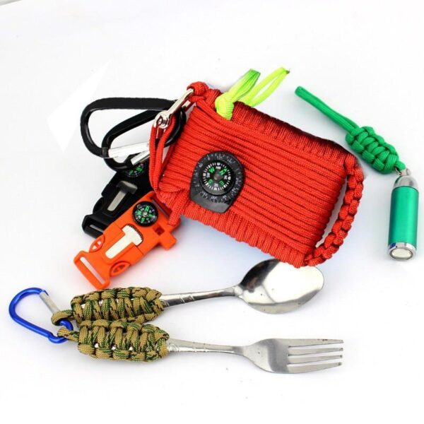29459 - Портативный комплект выживания из 29 предметов: веревка 10,5 м, огниво, компас, рыболовные снасти, аптечка