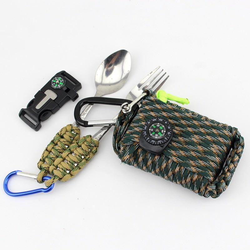 Портативный комплект выживания из 29 предметов: веревка 10,5 м, огниво, компас, рыболовные снасти, аптечка 206249