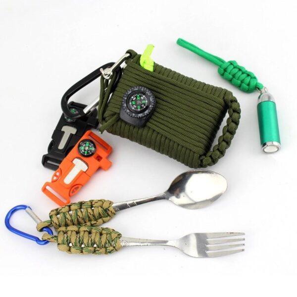 29465 - Портативный комплект выживания из 29 предметов: веревка 10,5 м, огниво, компас, рыболовные снасти, аптечка