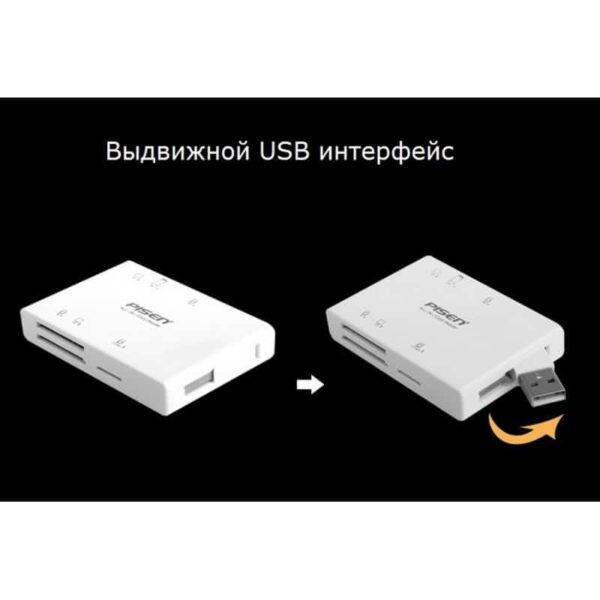 29539 - Мультифункциональный картридер Pisen Card Reader II - SD, MS, XD, CF, TF, M2, выдвижной интерфейс USB 2.0