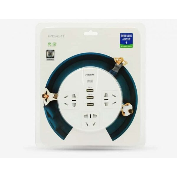 29583 - Круглая Smart розетка Pisen KY33 - 3 USB выхода, 3 розетки, ROHS UL94-V0, защита от детей