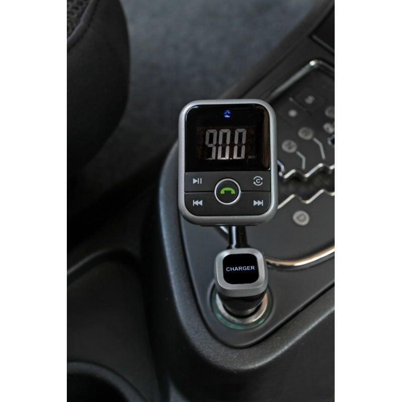 Беспроводной FM-трансмиттер + USB-зарядное + Bluetooth-гарнитура для автомобиля: SD-карта, 3,5 мм аудиовыход - Черный
