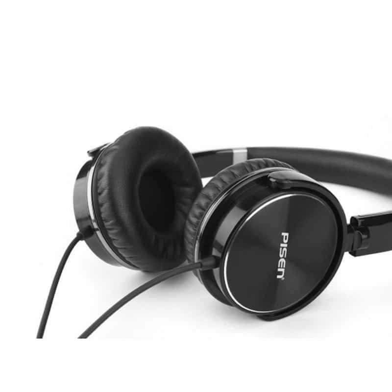 Hi-Fi наушники Pisen HD300 - позолоченный штекер, металлическая конструкция, кожаные амбушюры - Черный