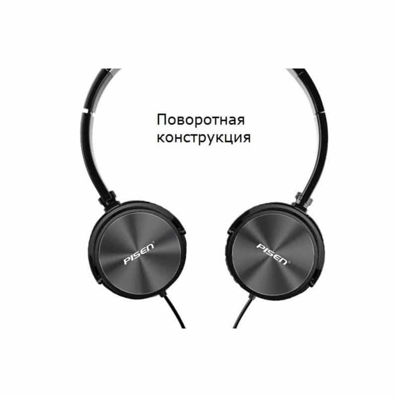Hi-Fi наушники Pisen HD300 – позолоченный штекер, металлическая конструкция, кожаные амбушюры 206446