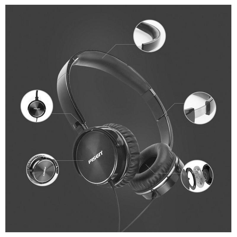 Hi-Fi наушники Pisen HD300 – позолоченный штекер, металлическая конструкция, кожаные амбушюры 206452