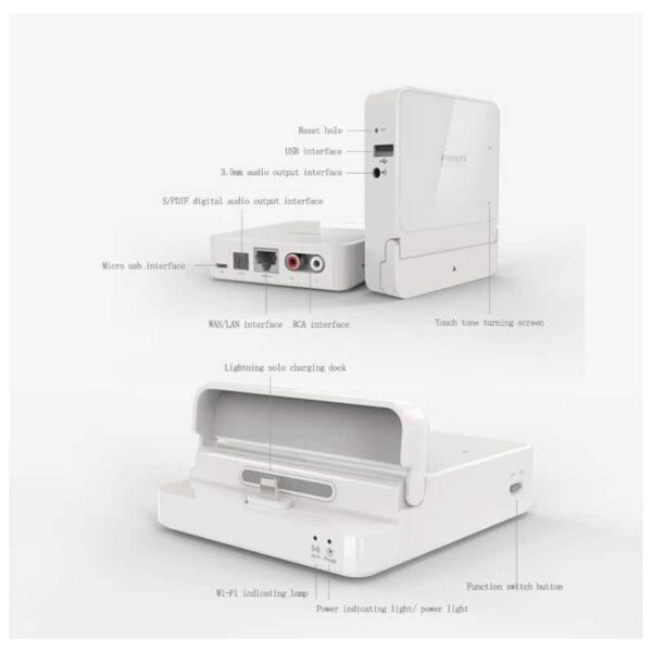 29736 - 3 в 1 устройство Pisen Cloud Music Box - облачное воспроизведение музыки, Wi-Fi маршрутизатор-репитер, порт зарядки Lightning