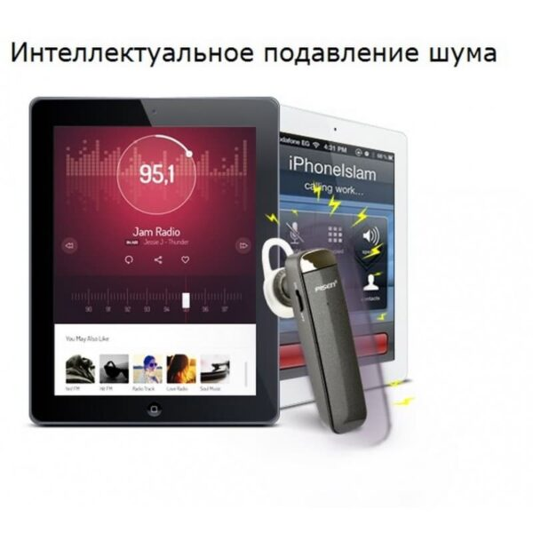 29753 - Стильная Bluetooth гарнитура Pisen LE005 - цифровая обработка звука, интеллектуальное шумоподавление, до 10 часов разговора
