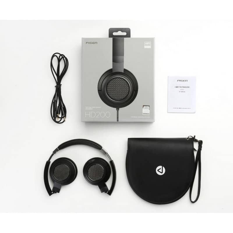 Открытые накладные наушники Pisen HD200 – позолоченный штекер, металлическая конструкция, кожаные амбушюры 206507
