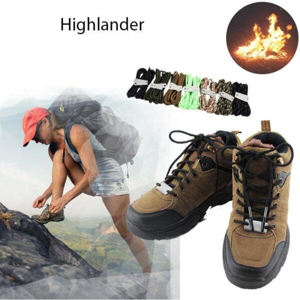 29817 - Шнурки выживания из паракорда с огнивом Highlander + светоотражающая нить