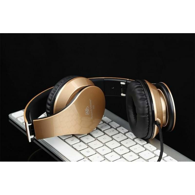 Складные наушники Sound Intone I60 - встроенный микрофон, трехполосный эквалайзер, басы - Черный