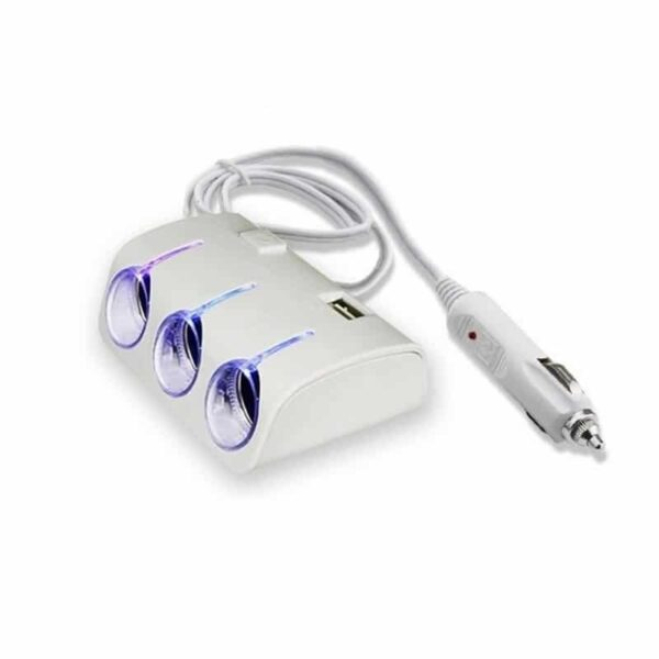 30252 - Многофункциональное автомобильное зарядное устройство А-4521 - 3 гнезда прикуривателя, 2 выхода USB, индикатор, 120 Вт