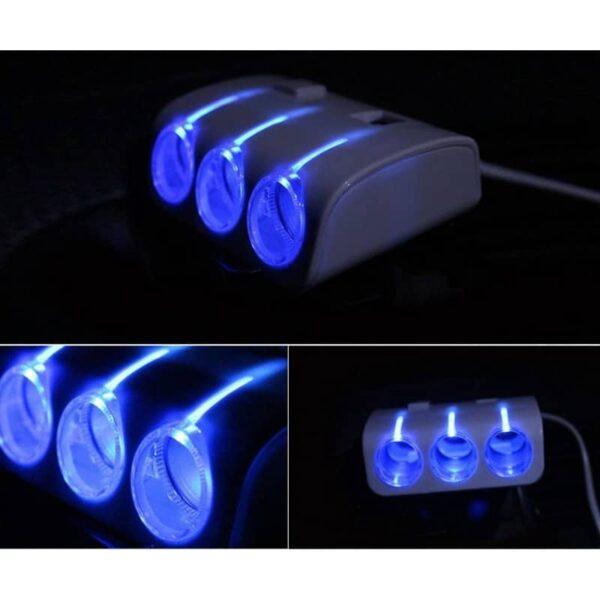 30259 - Многофункциональное автомобильное зарядное устройство А-4521 - 3 гнезда прикуривателя, 2 выхода USB, индикатор, 120 Вт