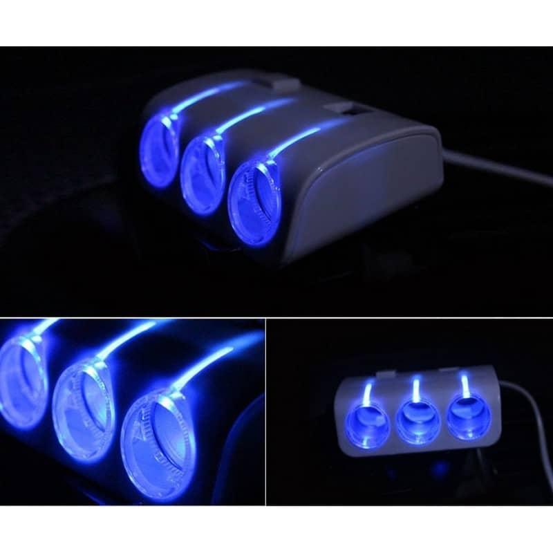 Многофункциональное автомобильное зарядное устройство А-4521 – 3 гнезда прикуривателя, 2 выхода USB, индикатор, 120 Вт 206949