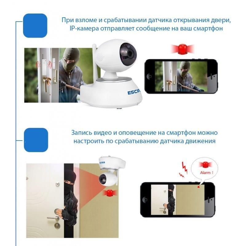 Многофункциональная IP-камера ESCAM Super Egg QF550: 720Р, датчик движения, ночное видение, SD 64 Гб, интеркомсвязь, сирена 207183