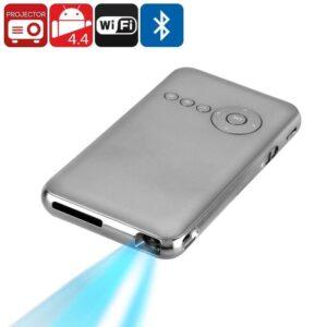 Мини-проектор – Android, DLP, 100 люмен, Bluetooth, Wi-Fi, четырехъядерный процессор, Google Play, поддержка карт SD до 32 ГБ