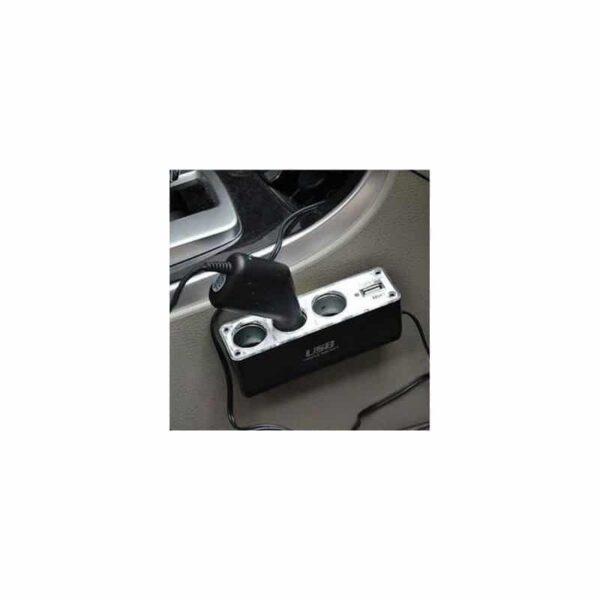 30778 - Универсальное автомобильное зарядное устройство HY 0096 - 3 гнезда прикуривателя, USB