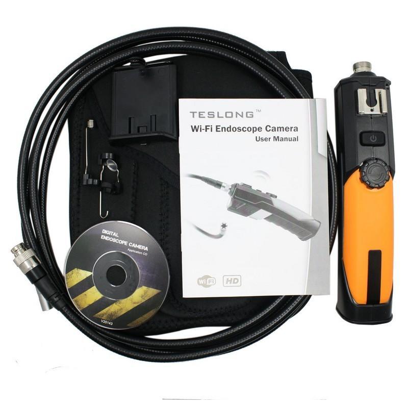 31065 - Профессиональный эндоскоп TESLONG WF200-1 - IP67, Wi-Fi, 8.5 мм диаметр, 1 м длина, 2 Мп CMOS, 1280х720, 6 светодиодов