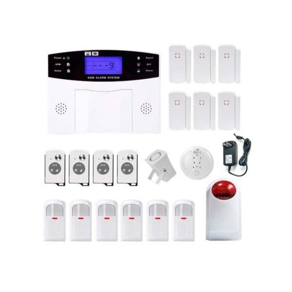 31492 - Комплексная система безопасности 20 в 1 YA-500-GSM-33 - ИК и дверные датчики, сирена, датчик дыма, сигнал тревоги и оповещения