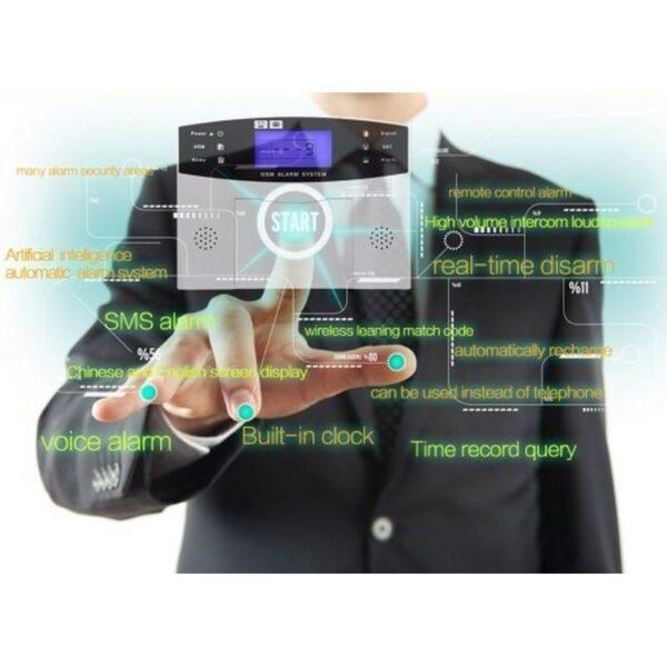 31493 - Комплексная система безопасности 20 в 1 YA-500-GSM-33 - ИК и дверные датчики, сирена, датчик дыма, сигнал тревоги и оповещения