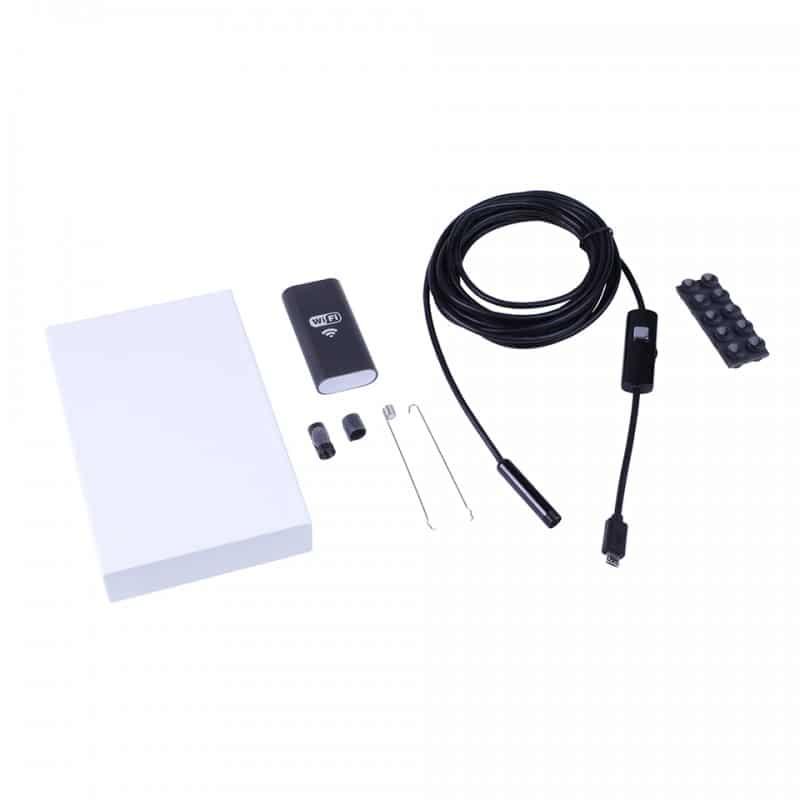 Wi-Fi видеоэндоскоп A830: 2 м кабель, IP67, 720p, камера 8 мм, 6 x LED, угол обзора 70°, 600 мАч, поддержка Android/iOS/Windows 208178