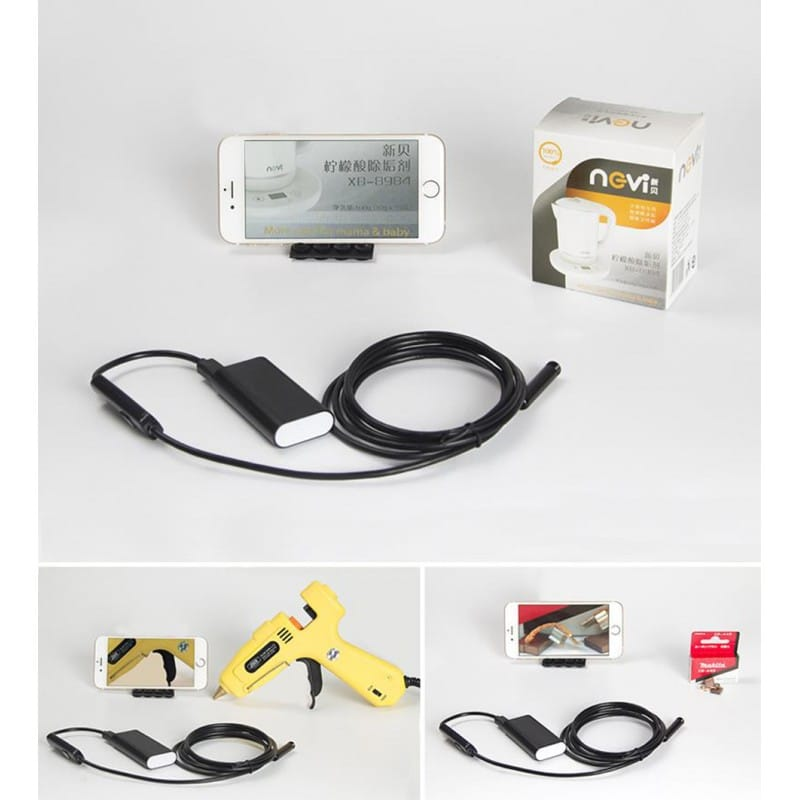 Wi-Fi видеоэндоскоп A830: 2 м кабель, IP67, 720p, камера 8 мм, 6 x LED, угол обзора 70°, 600 мАч, поддержка Android/iOS/Windows 208180