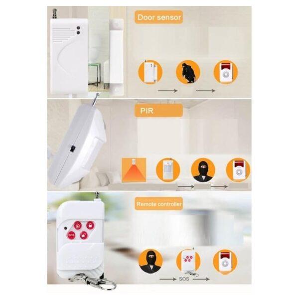 31675 - Домашняя система безопасности YA-302B-1 9 в 1 - сирена 110 дБ, кнопка SOS, 2 пульта ДУ, 2 PIR датчика, 4 дверных датчика