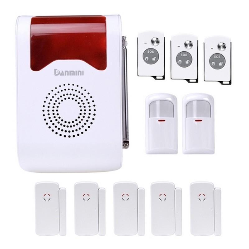 Охранная система для вашего дома YA-302-21 11 в 1 – 110 дБ сирена, SOS кнопка, 3 пульта ДУ, 2 PIR датчика, 5 дверных датчиков