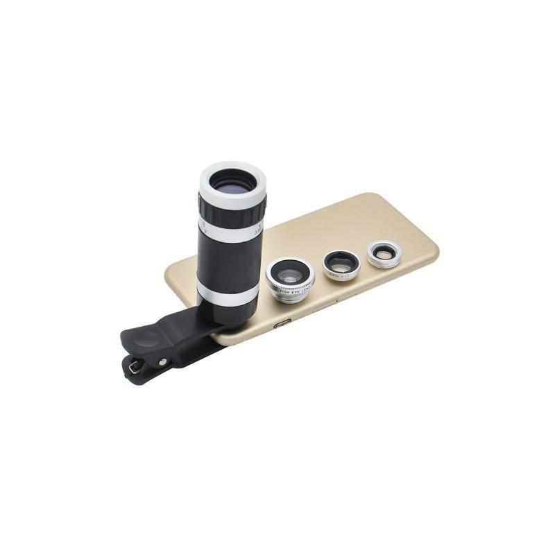31717 - Универсальный набор объективов 4 в 1 с клипсой для смартфона: 180°Fisheye+Макролинза+0.67х шрокоугольный+8x телескоп-телефото