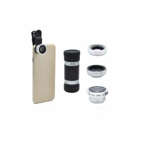 31718 - Универсальный набор объективов 4 в 1 с клипсой для смартфона: 180°Fisheye+Макролинза+0.67х шрокоугольный+8x телескоп-телефото