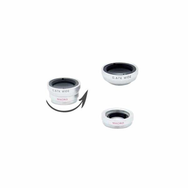 31720 - Универсальный набор объективов 4 в 1 с клипсой для смартфона: 180°Fisheye+Макролинза+0.67х шрокоугольный+8x телескоп-телефото
