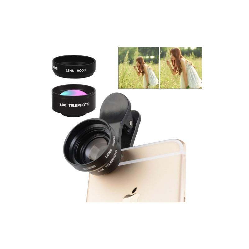 31726 - Универсальный 17мм 2.0х телефото объектив ZOMEI с металлической блендой для смартфона + клипса