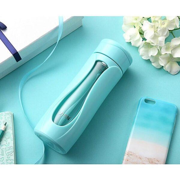 31737 - Компактная бутылка для воды Fu Guang Water - 350 мл, боросиликатное стекло, пластик, ситце из нержавеющей стали