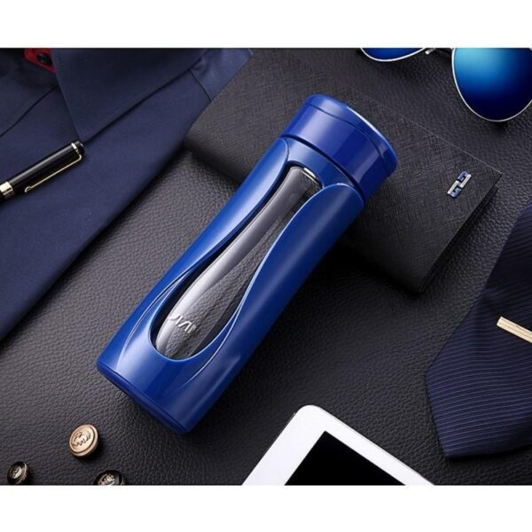 31747 - Компактная бутылка для воды Fu Guang Water - 350 мл, боросиликатное стекло, пластик, ситце из нержавеющей стали